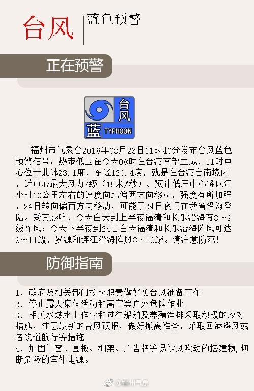 福州气象台发布台风蓝色预警 预计明晚登陆福建