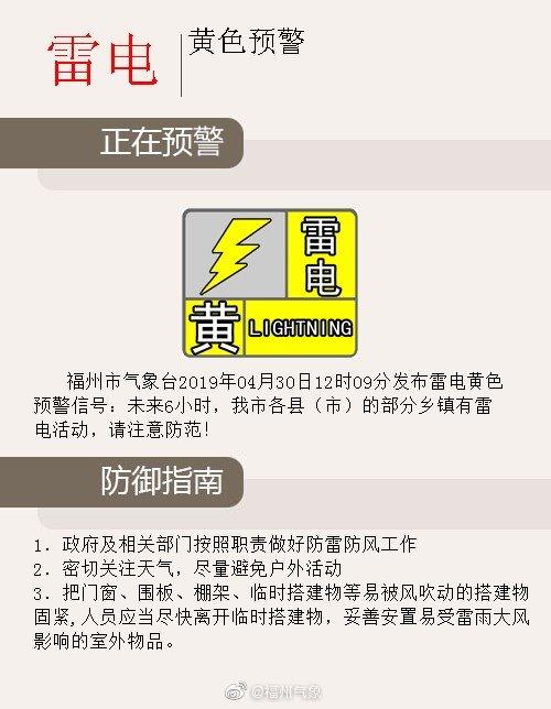 注意!福州市气象台发布雷电黄色预警信号