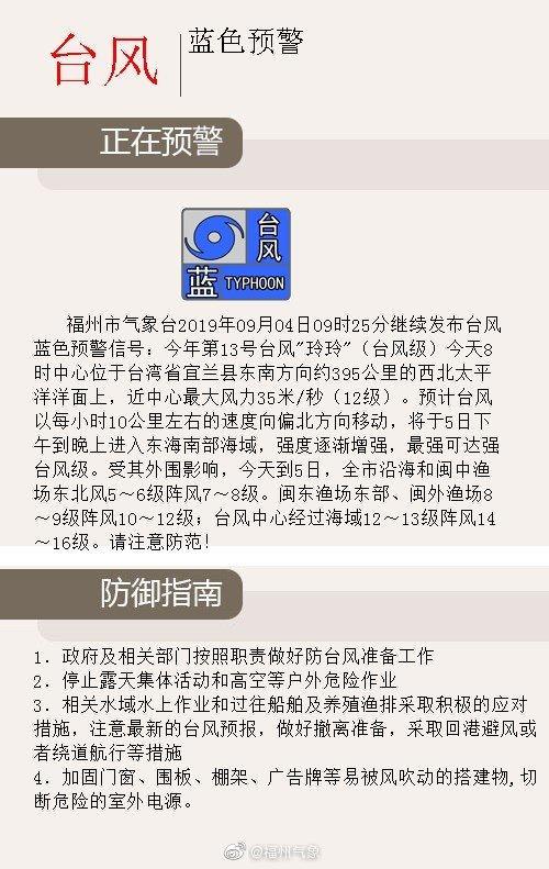 福州继续发布台风蓝色预警信号!