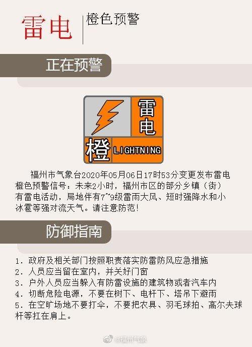 注意防范!福州气象发布雷电橙色预警、冰雹橙色预警