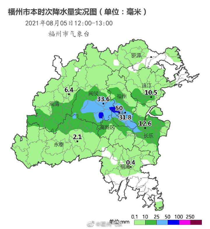 红色预警!福州暴雨!多地近1小时雨量超过50毫米